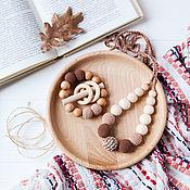 Одежда handmade. Livemaster - original item Set of slingobuses and teether-rattle beige brown. Handmade.