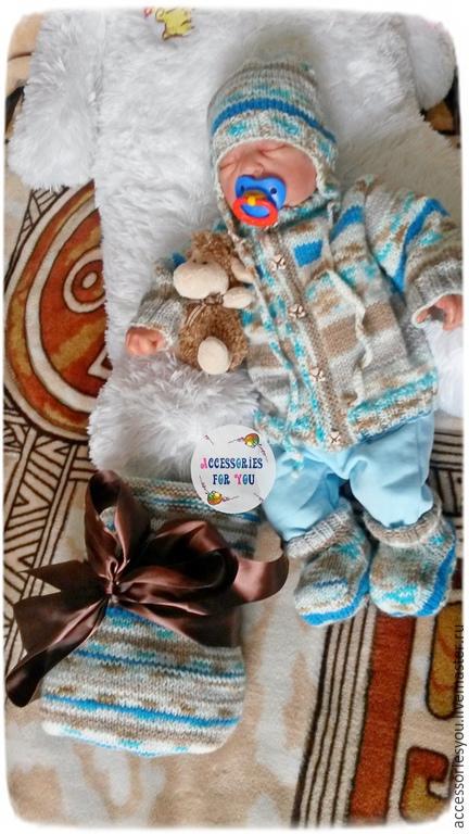 """Для новорожденных, ручной работы. Ярмарка Мастеров - ручная работа. Купить Комплект для малыша """"Favorite baby""""(5 предметов). Handmade. Разноцветный"""
