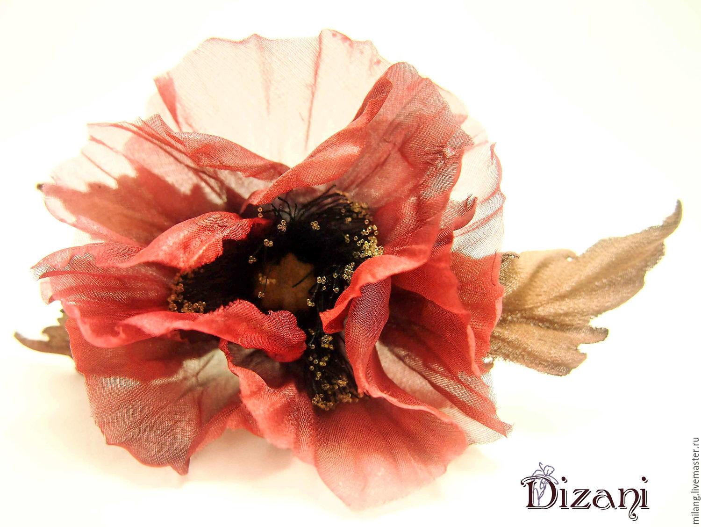 Brooch silk poppy silk flowers fabric flowers shop online on flowers handmade brooch silk poppy silk flowers fabric flowers dizani my mightylinksfo