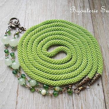 Decorations handmade. Livemaster - original item Lariat, harness transformer, lime, light green, with green onyx. Handmade.