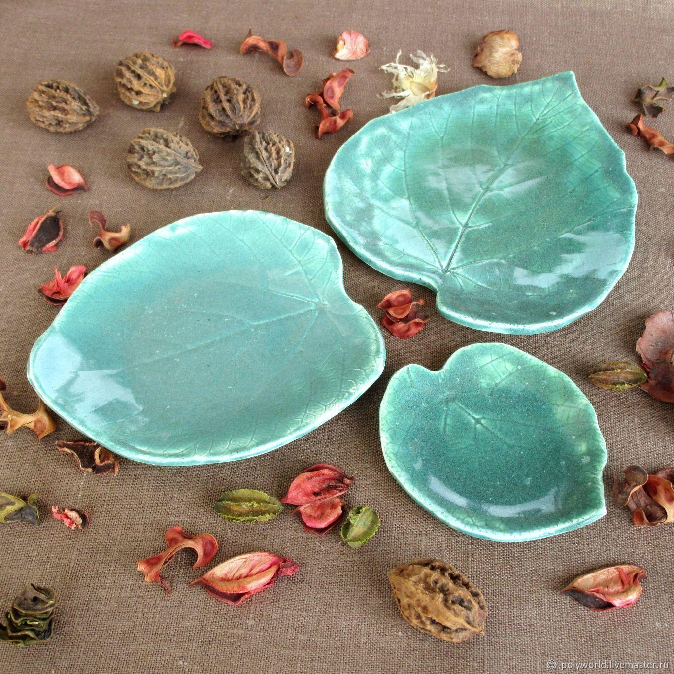 Декоративная посуда ручной работы. Ярмарка Мастеров - ручная работа. Купить Листья Липы Зелёные набор тарелок керамических. Handmade.
