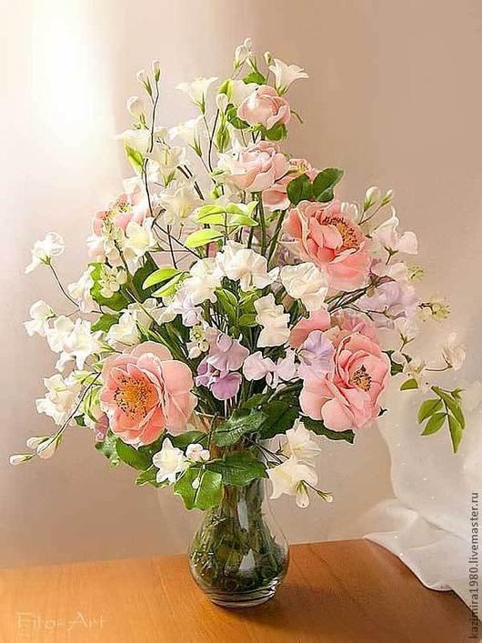 Букеты ручной работы. Ярмарка Мастеров - ручная работа. Купить Букет из полимерной глины. Аромат садовых роз.. Handmade.