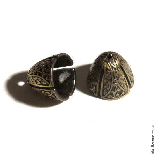 Для украшений ручной работы. Ярмарка Мастеров - ручная работа. Купить Шапочки концевики бронза разъёмные 13 мм 1 шт. Handmade.