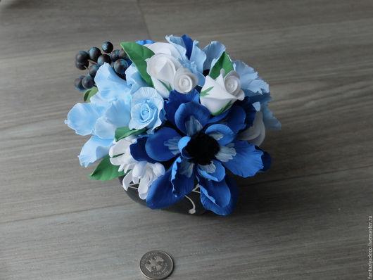 Интерьерные композиции ручной работы. Ярмарка Мастеров - ручная работа. Купить Интерьерная композиция в голубых тонах из полимерной глины. Handmade.