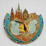 """Для дома и интерьера ручной работы. Ярмарка Мастеров - ручная работа Часы """"Мышки в городе"""". Handmade."""