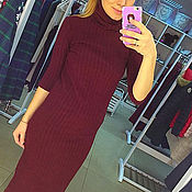 Одежда ручной работы. Ярмарка Мастеров - ручная работа Платье Базовое. Бордо (лапша)44й размер. Handmade.