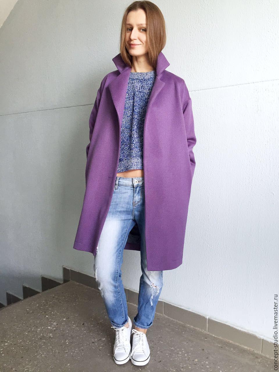 72c8b5d64d2 Верхняя одежда ручной работы. Ярмарка Мастеров - ручная работа. Купить  Демисезонное пальто фиолетовое.