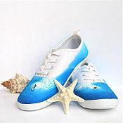 Обувь ручной работы handmade. Livemaster - original item Sneakers: Original sneakers with painted Catch a wave. Handmade.