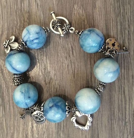 """Браслеты ручной работы. Ярмарка Мастеров - ручная работа. Купить Браслет """"Rock My Heart!"""". Handmade. Голубой, цвет серебра"""