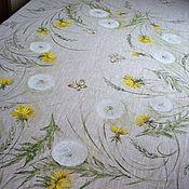 Для дома и интерьера handmade. Livemaster - original item TABLECLOTHS: Dandelions Linen tablecloth with hand painted. Handmade.