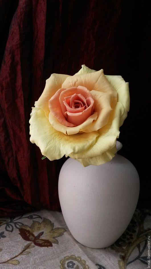 Интерьерные композиции ручной работы. Ярмарка Мастеров - ручная работа. Купить Роза из холодного фарфора. Handmade. Комбинированный, фарфор