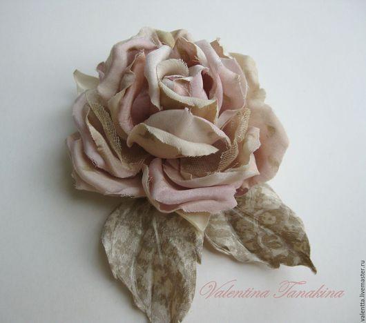 """Броши ручной работы. Ярмарка Мастеров - ручная работа. Купить цветок из натурального шелка """"моя любимая роза"""". Handmade. Кремовый"""