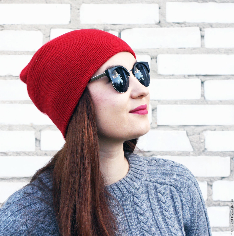 Шапка бини Minimalism двойная вязаная красная шапка бини из кашемира, Шапки, Омск,  Фото №1