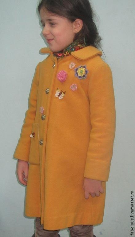 """Одежда для девочек, ручной работы. Ярмарка Мастеров - ручная работа. Купить Пальто зимнее """"Любимое"""". Handmade. Желтый, куртка для девочки"""