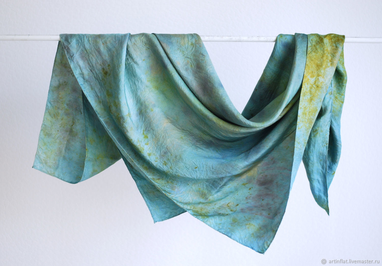 Satin handkerchief 'Summer in Paris' silk EcoPrint blue-green, Shawls1, Moscow,  Фото №1