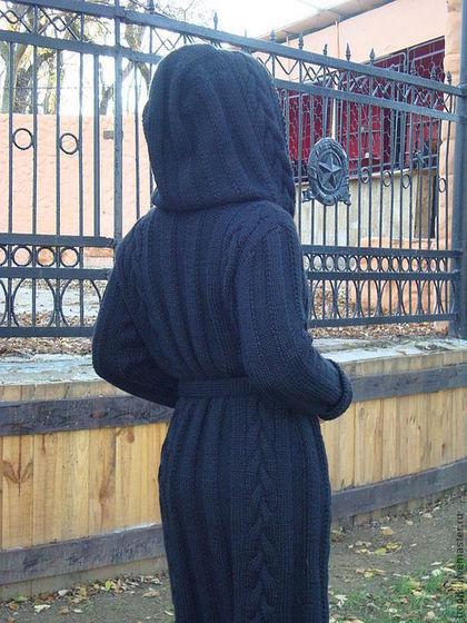 Верхняя одежда ручной работы. Пальто- кардиган с капюшоном. Светлана Волкодав. Интернет-магазин Ярмарка Мастеров. Пальто женское