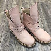 Обувь ручной работы handmade. Livemaster - original item Boots moccasin leather with uneven light pink. Handmade.