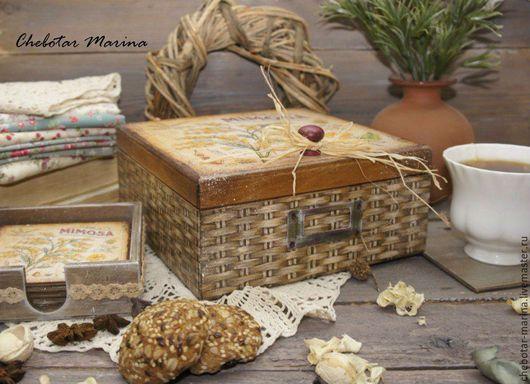 Шкатулки ручной работы. Ярмарка Мастеров - ручная работа. Купить Шкатулка МИМОЗА чайная или для рукоделия. Handmade. Бежевый, Декупаж