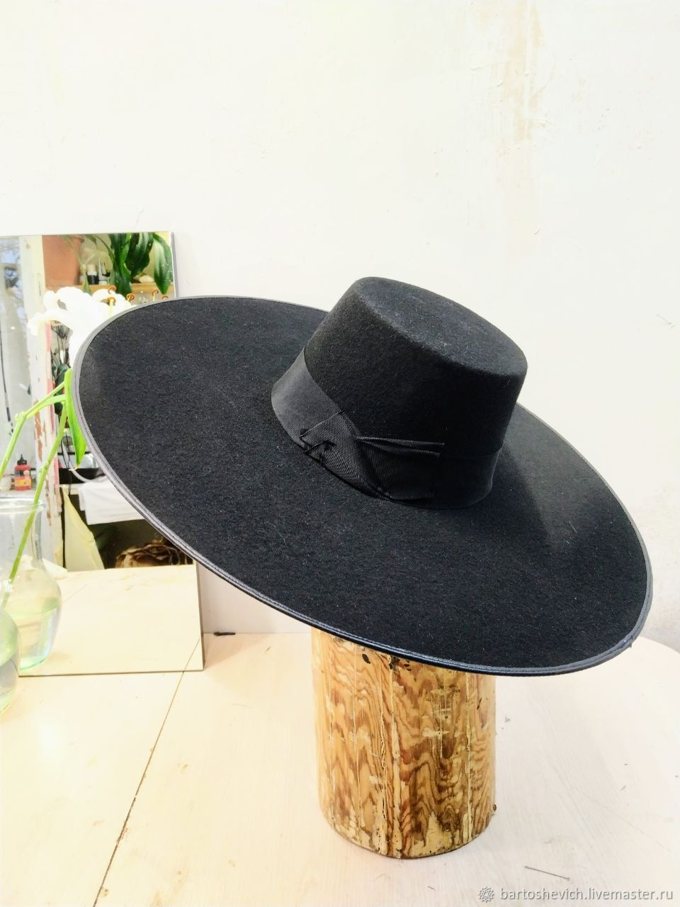 Black wide-brimmed hat ' Modern witch», Hats1, St. Petersburg,  Фото №1