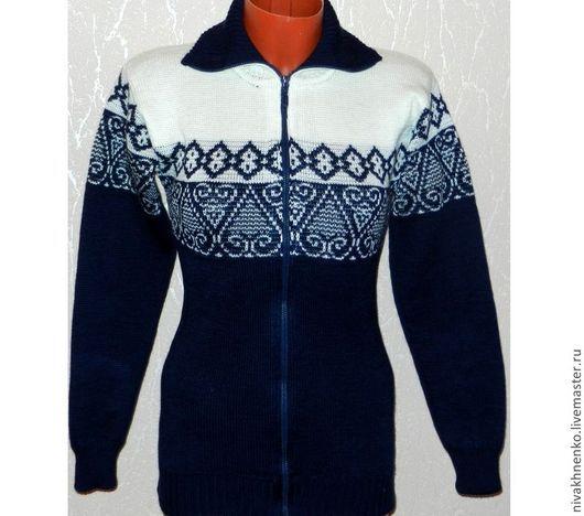 Кофты и свитера ручной работы. Ярмарка Мастеров - ручная работа. Купить Вязаная кофта на молнии. Handmade. Тёмно-синий