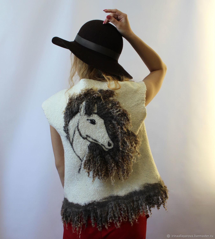 Felted vest White horse with a fleece, Vests, Verhneuralsk,  Фото №1