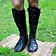 Обувь ручной работы. Ярмарка Мастеров - ручная работа. Купить Сапоги-Ботфорты из кожи и замши со шнуровкой Комбо Черные. Handmade.