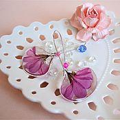 Украшения handmade. Livemaster - original item Earrings with Pink Resin flowers Decoration Natural boho Jewelry. Handmade.