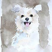 """Картины и панно ручной работы. Ярмарка Мастеров - ручная работа Картина акварелью """"Задорный пёсик"""". Handmade."""