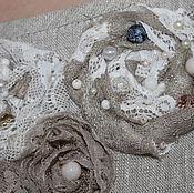 Одежда ручной работы. Ярмарка Мастеров - ручная работа Платье из льна с цветами ручной работы. Handmade.