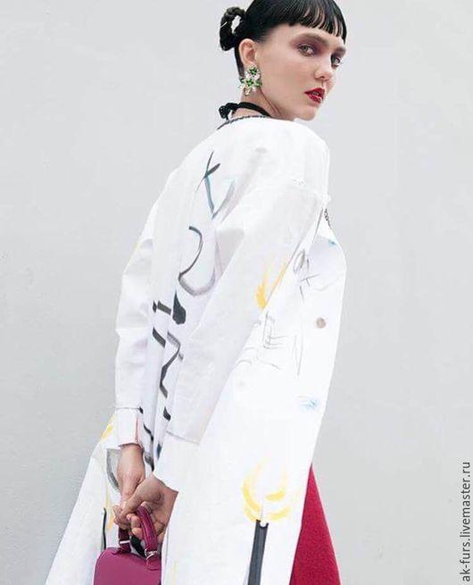 Верхняя одежда ручной работы. Ярмарка Мастеров - ручная работа. Купить Уникальное тканевое пальто. Handmade. Белый, пальто женское