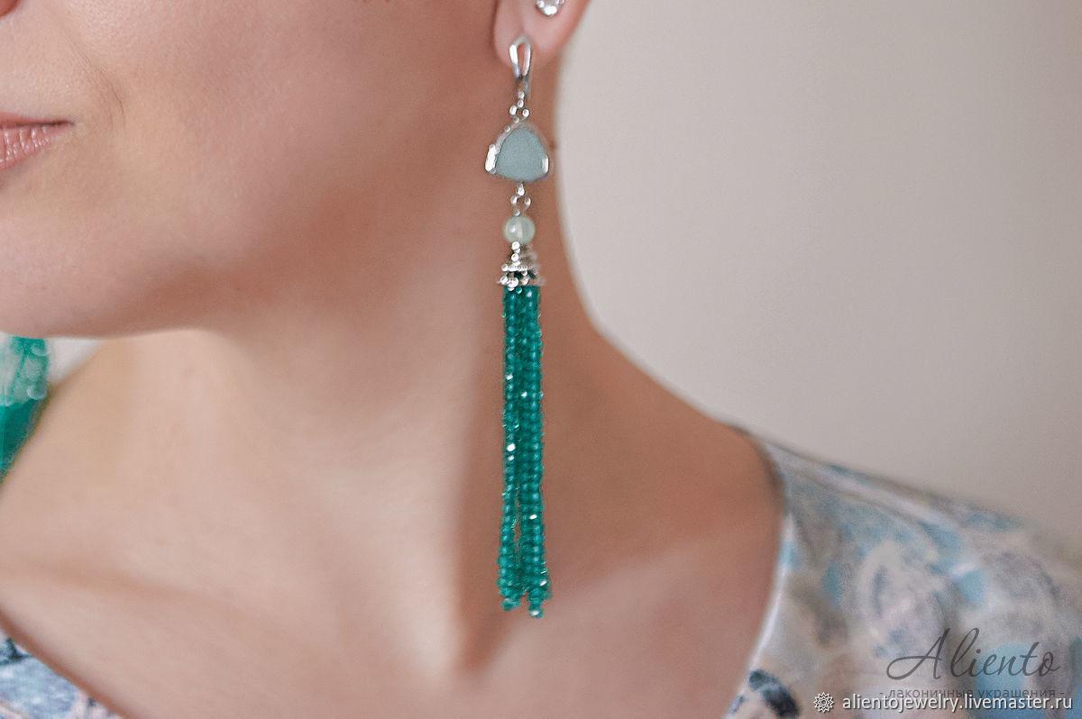 Earrings-brush of the jewelry glass sea green, Tassel earrings, Moscow,  Фото №1