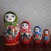 Русский стиль handmade. Livemaster - original item Matryoshka 7 (Gorodetskaya Rospis). Handmade.