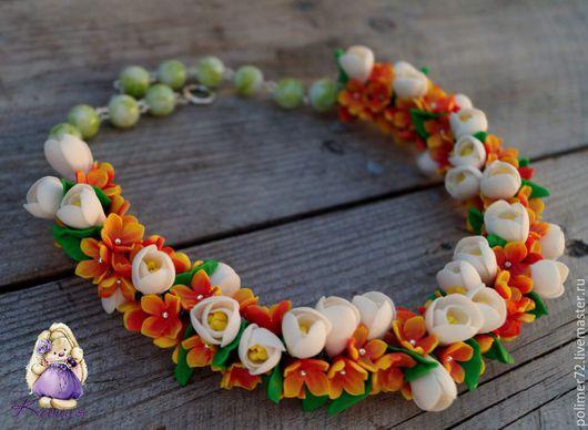 """Колье, бусы ручной работы. Ярмарка Мастеров - ручная работа. Купить Колье """"Дыхание весны"""". Handmade. Оранжевый, ручная работа"""