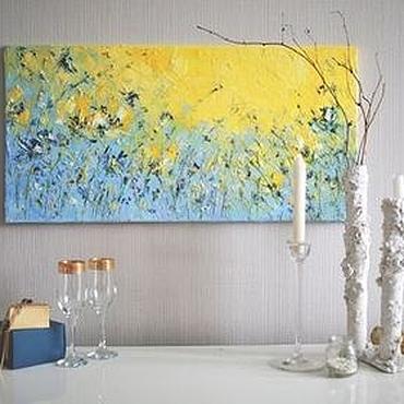 Картины и панно ручной работы. Ярмарка Мастеров - ручная работа Фиолетовый желтый картина с цветами маслом горизонтальная длинная. Handmade.