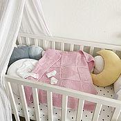 Работы для детей, ручной работы. Ярмарка Мастеров - ручная работа Розовый плед для новорожденной с сердечками. Handmade.