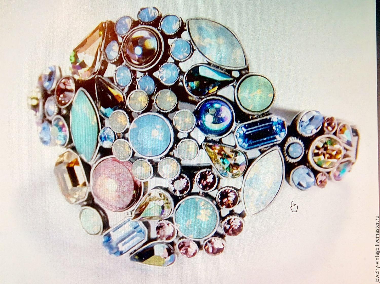 Винтаж: Крупный винтажный браслет с кристаллами Сваровски, Винтажные браслеты, Москва, Фото №1