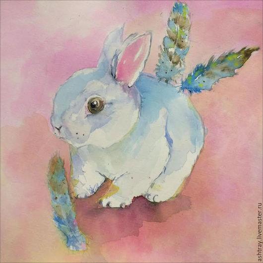 """Животные ручной работы. Ярмарка Мастеров - ручная работа. Купить Картина в детскую """"Нежный кролик"""". Handmade. Розовый, детская комната"""