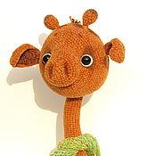 Куклы и игрушки handmade. Livemaster - original item Toy crochet velour giraffe Rivet 30cm brown. Handmade.