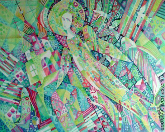 Символизм ручной работы. Ярмарка Мастеров - ручная работа. Купить Лучи Солнечного Света. Handmade. Оливковый, картина маслом, коллекция