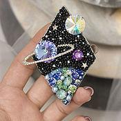 Украшения handmade. Livemaster - original item Embroidered Cosmos brooch with Swarovski crystals in the form of planets. Handmade.