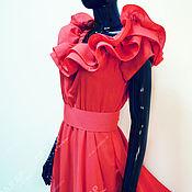 """Платья ручной работы. Ярмарка Мастеров - ручная работа """"Мелодия""""длиное платье в пол красного цвета с воланами из шифона. Handmade."""