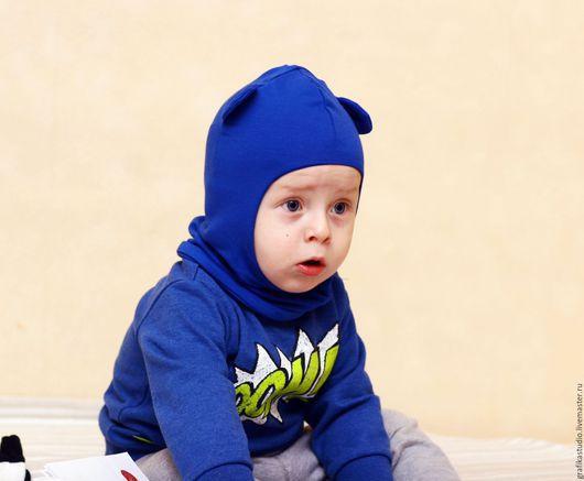 Шапки и шарфы ручной работы. Ярмарка Мастеров - ручная работа. Купить Шапка-Балаклава ярко синяя с ушками. Handmade. Синий