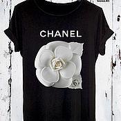 Одежда handmade. Livemaster - original item Black cotton print t-shirt - TEE10223CT. Handmade.
