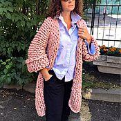 Одежда ручной работы. Ярмарка Мастеров - ручная работа Кардиган - пальто крупной вязки из 100% мериноса пудровый. Handmade.