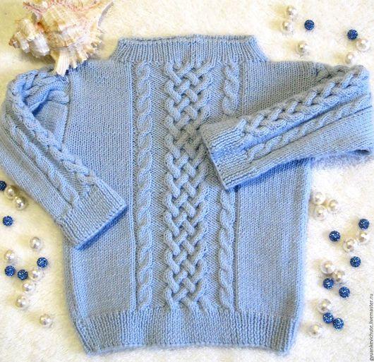 Одежда унисекс ручной работы. Ярмарка Мастеров - ручная работа. Купить Свитер детский с кельтским узором из голубого мериноса. Handmade.