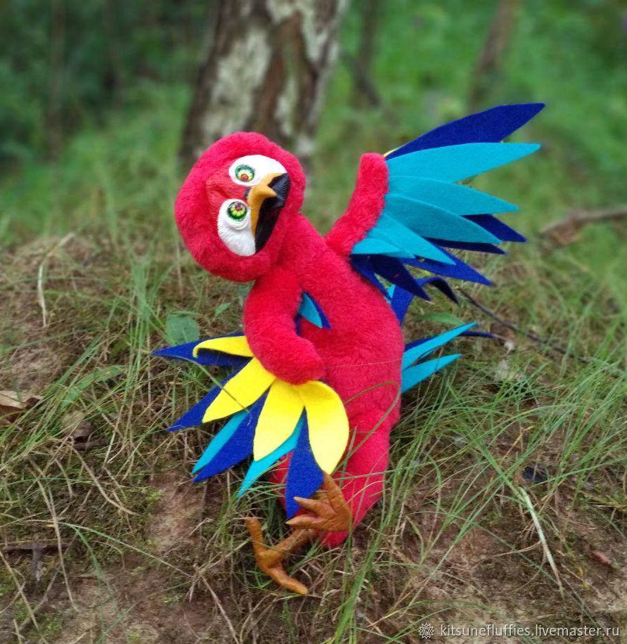 Red Macaw Parrot Alexandritt, poseable interior toy, Stuffed Toys, Ryazan,  Фото №1