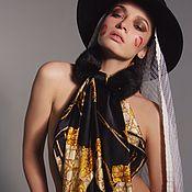 Аксессуары handmade. Livemaster - original item Black Gold mink black clutch with Dior silk scarf. Handmade.
