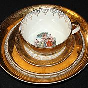 Винтаж handmade. Livemaster - original item Vintage tea set with gallant scene, La Petite, France. Handmade.