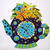 """Для дома и интерьера ручной работы. Ярмарка Мастеров - ручная работа Часы фьюзинг """"Чайник с цветами"""". Handmade."""