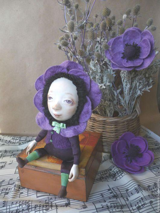 Коллекционные куклы ручной работы. Ярмарка Мастеров - ручная работа. Купить Цветы маленькой Иды...Анемон. Handmade. Тёмно-фиолетовый